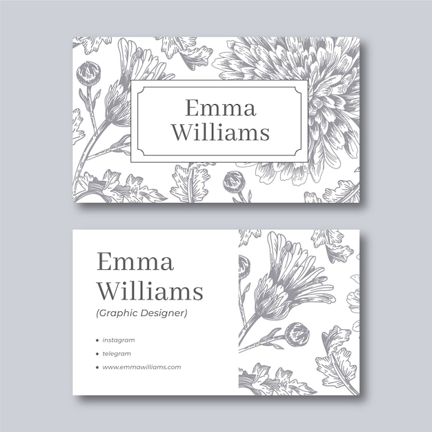 Realistic hand drawn floral business card template Premium Vector