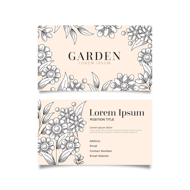 Realistic hand drawn floral business card template Free Vector