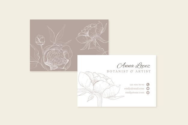 Realistic hand-drawn floral business card Free Vector
