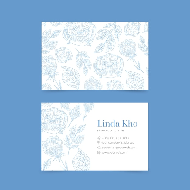 Realistic hand drawn floral templatebusiness card pack Free Vector