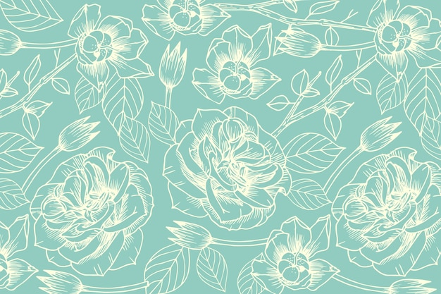 Realistic hand drawn flower on pastel blue background Free Vector