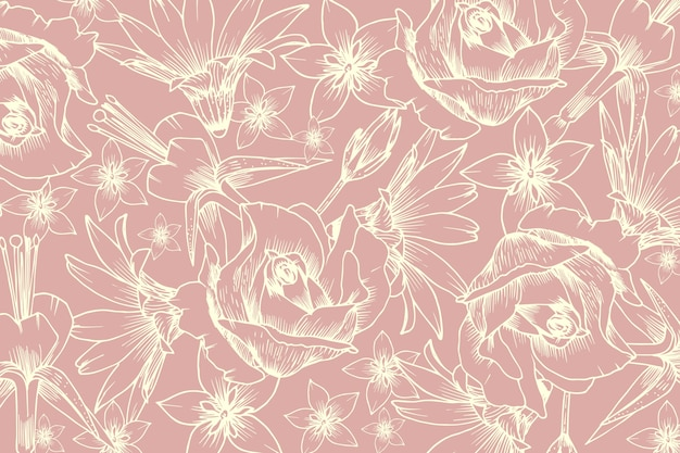 Realistic hand drawn flower on pastel pink background Free Vector