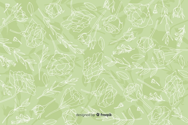 Realistic hand drawn flowers and leaves on pastel background Free Vector