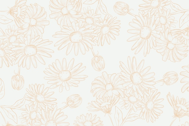 Realistic hand drawn flowers on pastel background Free Vector