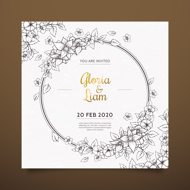 Realistic hand drawn flowers wedding invitation on brown shades Free Vector