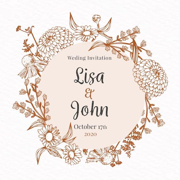 Realistic hand drawn flowers wedding invitation Free Vector