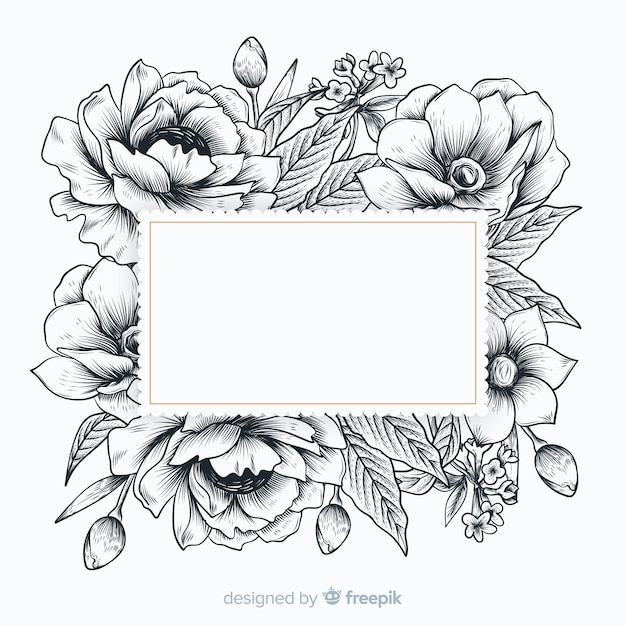 Realistic hand drawn flowers with blank banner Free Vector