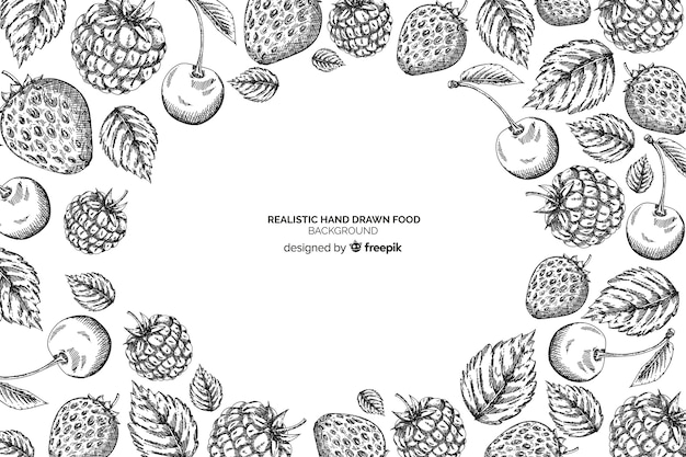 Realistic hand drawn food background Free Vector