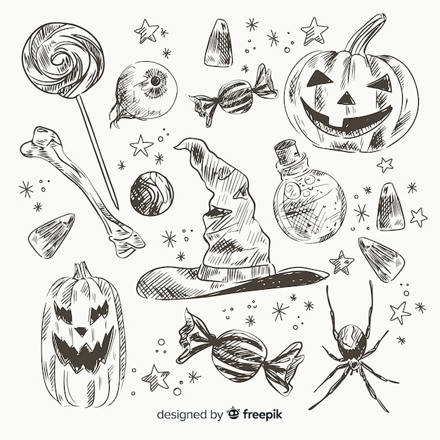 Realistic hand drawn halloween element collectio Free Vector