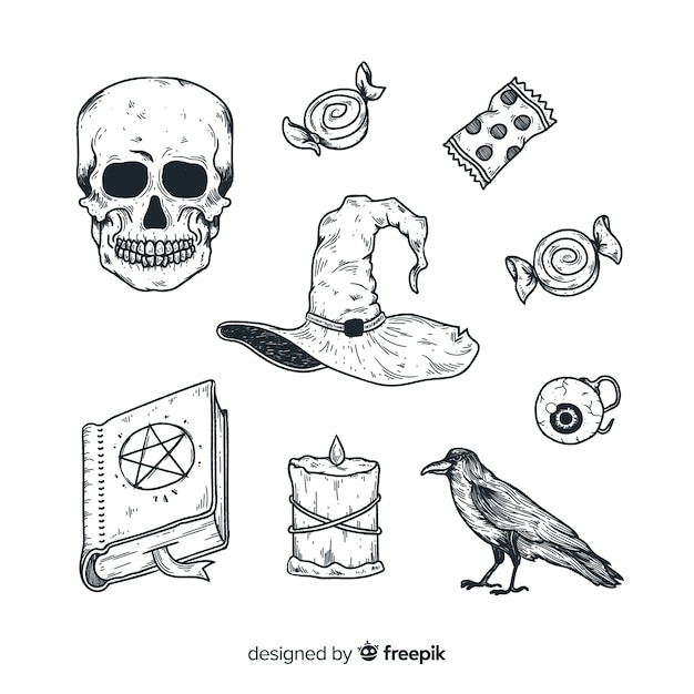 Realistic hand drawn halloween element collection Free Vector