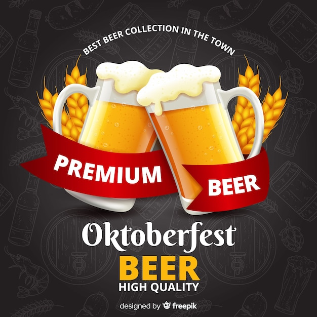 Realistic hand drawn oktoberfest background Free Vector