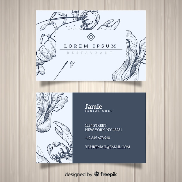 Realistic hand drawn restaurant business card template Free Vector