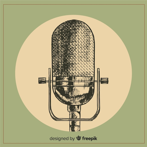 Realistic hand drawn retro microphone Free Vector