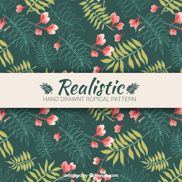 Realistic hand drawn tropical pattern Free Vector