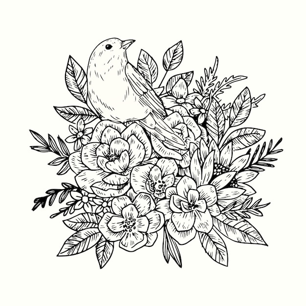 Realistic hand drawn vintage floral bouquet Free Vector