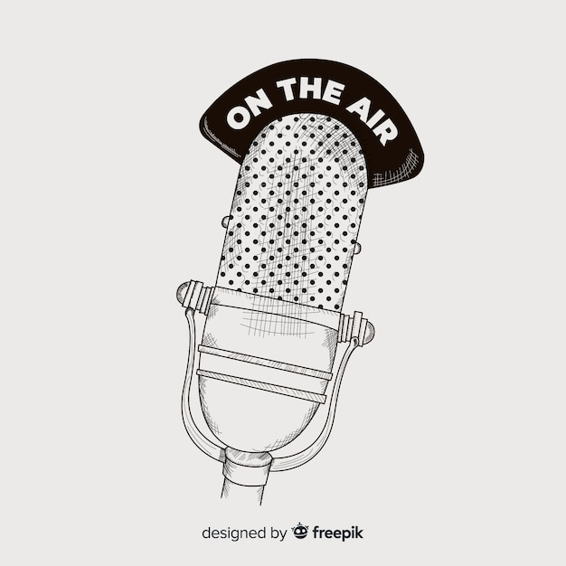 Realistic hand drawn vintage microphone Free Vector
