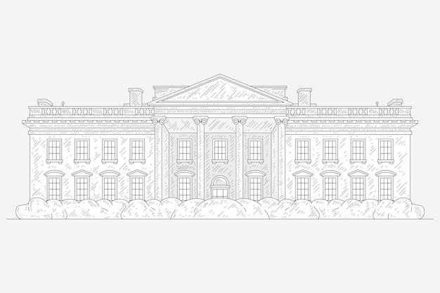Illustrazione disegnata a mano realistica della casa bianca Vettore gratuito