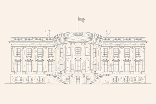 Realistic hand drawn white house illustration Free Vector