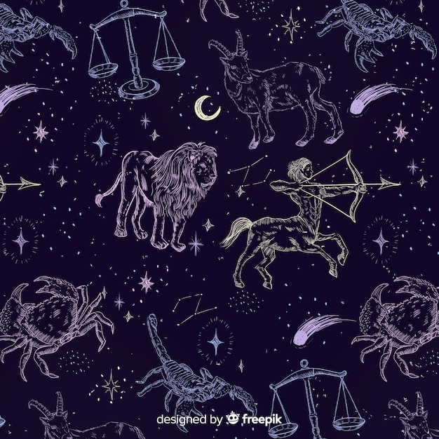 Realistic hand drawn zodiac pattern Free Vector