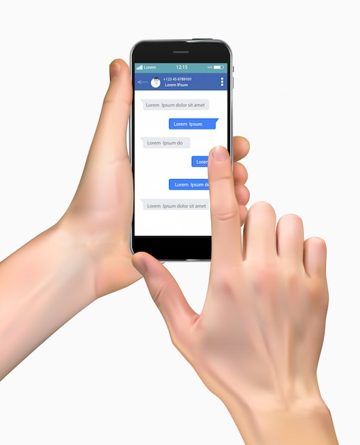 Realistic hand holding mobile phone isolated on white Premium Vector