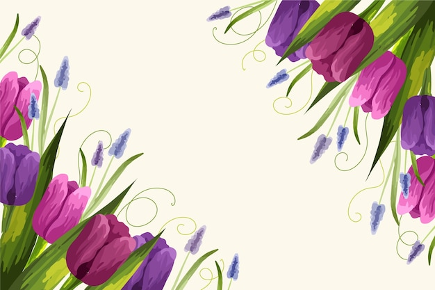 Realistic hand painted floral background with tulips Free Vector