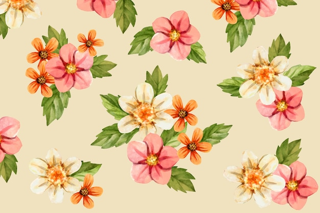 Realistic hand painted floral background Free Vector