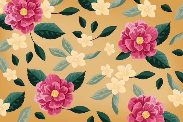 Realistic hand-painted floral background Free Vector