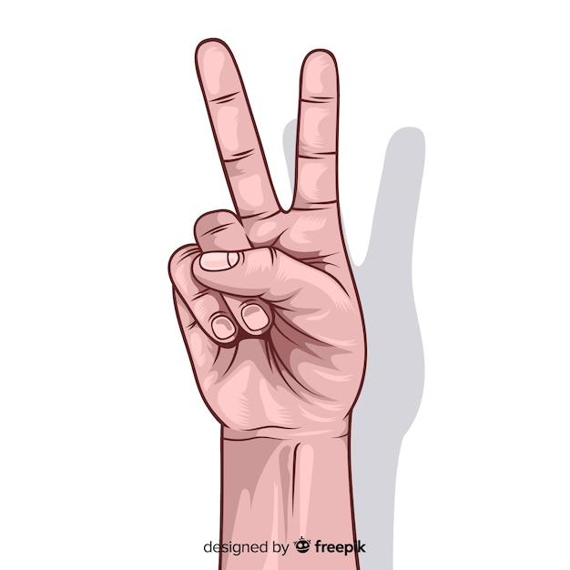 Peace Sign Hand Symbol Text - Keshowazo