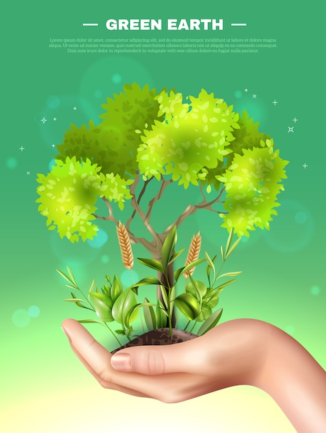 Realistic hand plants ecology illustration Free Vector