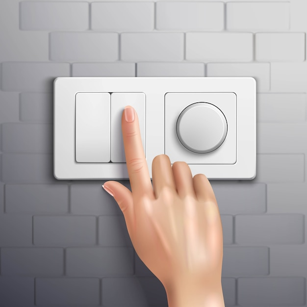 Realistic hand pressing switch with forefinger on grey brick wall Free Vector