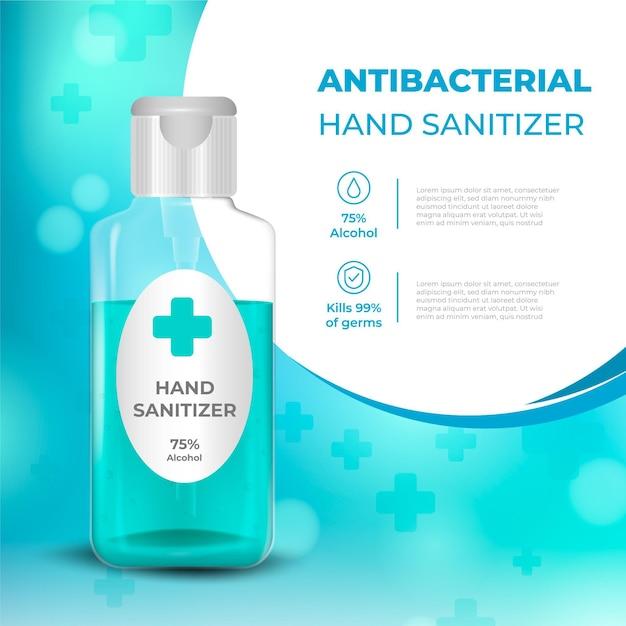 Annuncio antibatterico disinfettante per le mani realistico Vettore gratuito