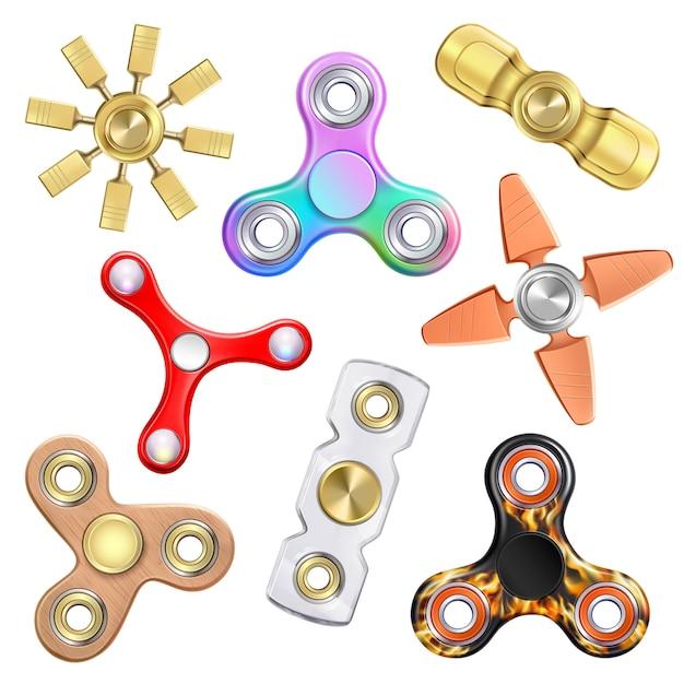 Collezione realistic hand spinners Vettore gratuito