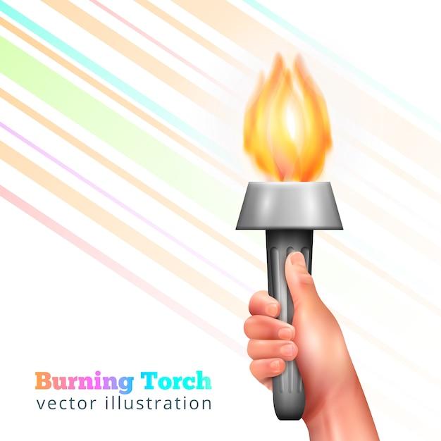 Torcia a mano realistica Vettore gratuito