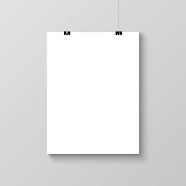 Реалистичные висит пустой плакат шаблон макета Premium векторы