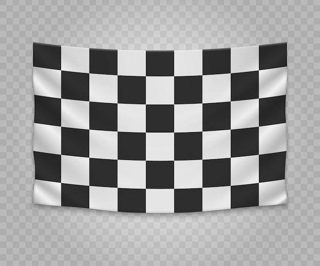 Realistic hanging checkered finish flag. empty fabric banner illustration design. Premium Vector
