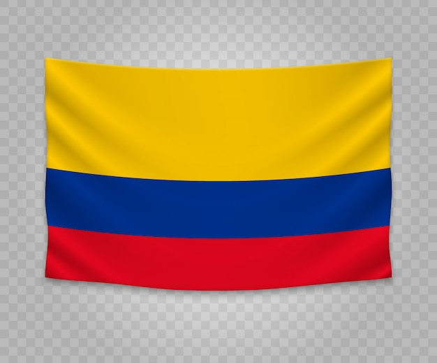 Realistic hanging flag of colombia Premium Vector