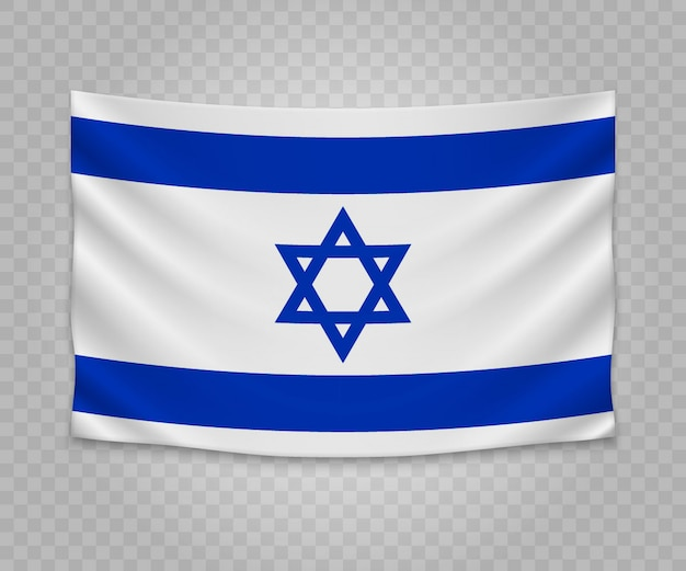 Realistic hanging flag of israel Premium Vector