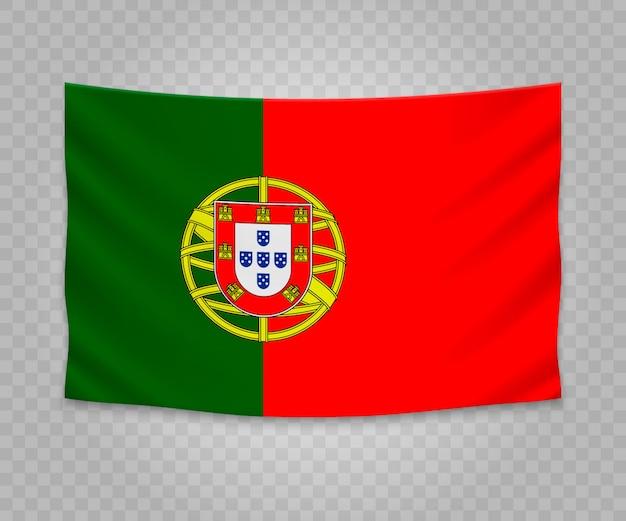 Realistic hanging flag of portugal Premium Vector