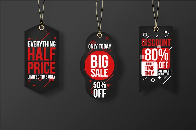 Realistic hanging sales label collection concept Free Vector