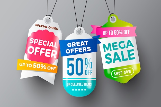 Realistic hanging sales label collection style Free Vector
