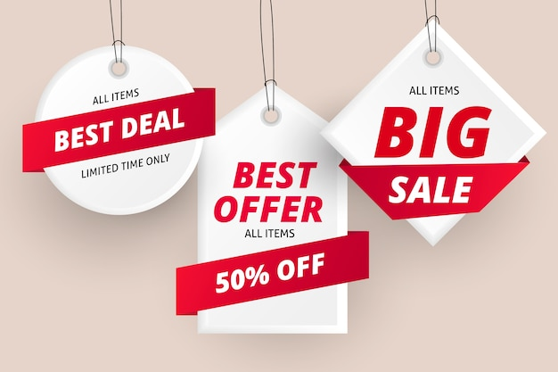 Realistic hanging sales label collection Premium Vector