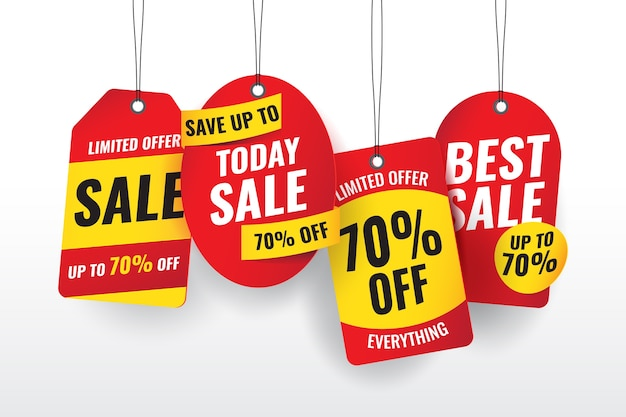 Realistic hanging sales label set Free Vector