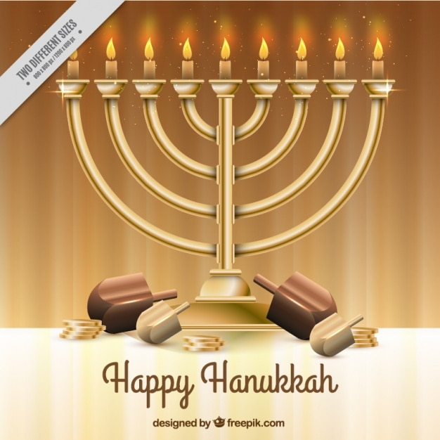 Realistic hanukkah background with candelabra Free Vector