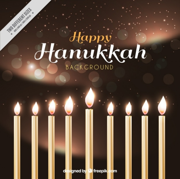 Realistic hanukkah background with candles and\ bokeh effect