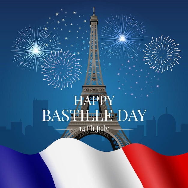 Realistic happy bastille day with eiffel tower and flag Free Vector