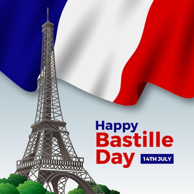 Realistic happy bastille day with flag and eiffel tower Free Vector