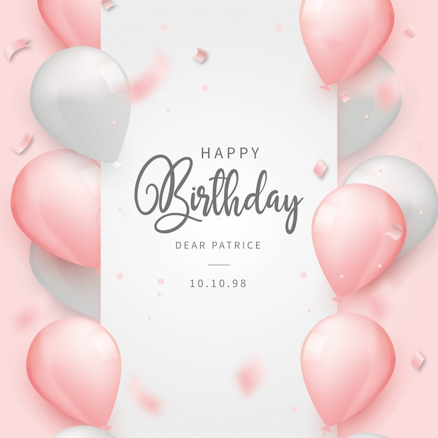 Realistic happy birthday background with pink balloons Free Vector