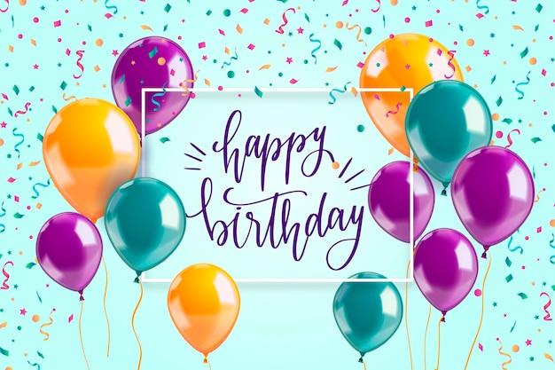 Realistic happy birthday background Premium Vector