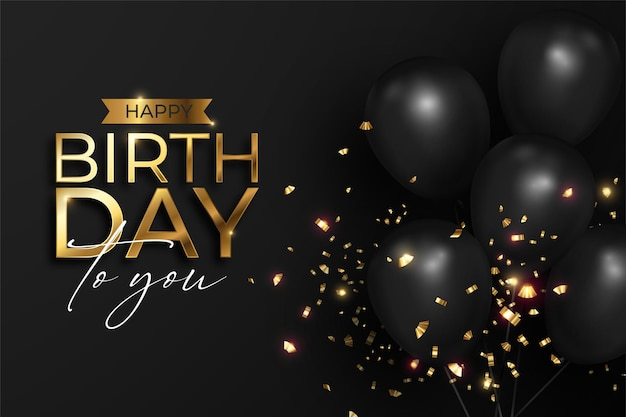 Реалистичный с днем рождения в черно-золотом Бесплатные векторы