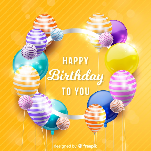 Realistic happy birthday party background Free Vector
